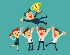 líder de negocios con un trofeo y su equipo celebran su éxito