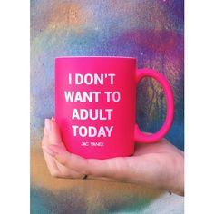 ADULT COFFEE MUG ($24) ❤ liked on Polyvore featuring home, kitchen & dining, drinkware, pink coffee mug and pink mug