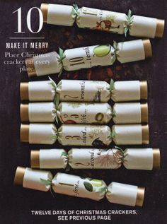Christmas crackers from William-Sonoma. Cozy Christmas, Christmas 2017, Christmas Photos, All Things Christmas, Holiday Fun, Christmas Holidays, Christmas Crafts, Festive, Christmas Ideas