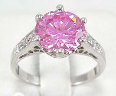 (Szs 7, 8, 9) Sparkling Created Pink Sapphire Ring. Starting at $8 on Tophatter.com!