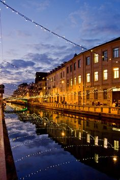 Summer evenings on the rives from Navigli, Lombardy in Italy.