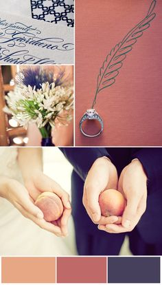 Peach and Navy Wedding Colour Scheme