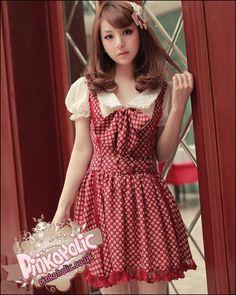 Sweet one piece polkadot dress puff sleeves top