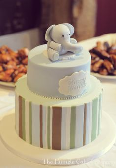 Elephant Christening Cake by The Humble Cake Company, Northumberland www.facebook.com/thehumblecakecompany Baby Boy Birthday Cake, Birthday Cakes, Christening, Elephant, Facebook, Desserts, Food, Tailgate Desserts, Meal