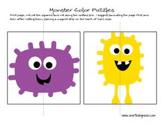 Monster Counting Puzzles FREE PRINTABLE - Perfect for those young toddlers to help them learn their colors!