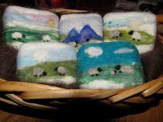 Sheep soap.  Wet and needle felted handmade goat milk soap from our farm.  $14.00