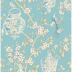 2702-22759 - Serenity Turquoise Lanterns Wallpaper - by A - Street Prints