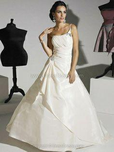 Ball Gown One Shoulder Taffeta Sweep Train Appliques Wedding Dresses -$251.69