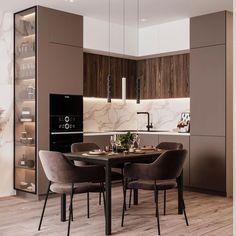 Modern Kitchen Interiors, Luxury Kitchen Design, Kitchen Room Design, Home Room Design, Home Decor Kitchen, Interior Design Kitchen, Home Kitchens, Apartment Interior, Apartment Design