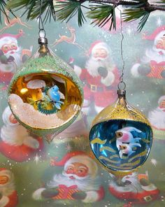 Beautiful vintage Christmas ornaments - we had some of these diorama ornaments when I was little.
