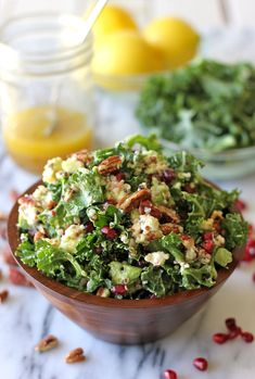 Kale Salad with Meyer Lemon Vinaigrette by damndelicious #Salad #Kale #Lemon #Healthy