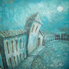 LEO MONTE--TÍTULO: Perspectiva de Villa de Leyva III TÉCNICA: Oleo sobre acetato DIMENSIONES: 35X35 cm
