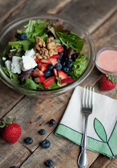 Recipe: Berry Salad with Goat Cheese, Salted Walnuts and Homemade Berry Vinaigrette