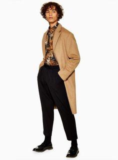 3b01b7e52b7 Camel Oversized Overcoat - TOPMAN USA Men s Coats And Jackets
