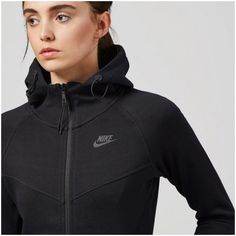 Nike Tech Fleece Windrunner Zip Up Hoodie •Nike's insulating 'Tech Fleece' hooded top is made from black cotton-blend jersey. Paneled for a slim and flattering fit, it's finished with an adjustable drawstring hood, several internal and external pockets and thumb holes to prevent the sleeves riding up.   •Size Small, true to size.  •New with tag.   •NO TRADES/PAYPAL/MERC/VINTED/NONSENSE. Nike Tops Sweatshirts & Hoodies