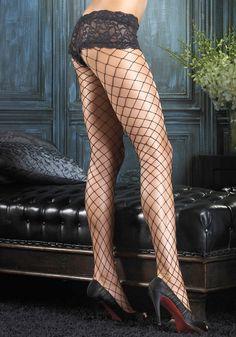 Leg Avenue - Fence net pantyhose with boy short lace top - 1278
