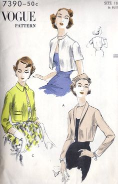 """""""Vogue 7390; ©1954; Boleros """"Easy-To-Make"""". Collarless or with shaped collar or narrow shawl collar. Two flap patch pockets. Long one-piece fitted sleeves, three-quarter-length with turned-back cuffs and very short sleeves."""" #vintage #sewing #pattern #1950s"""