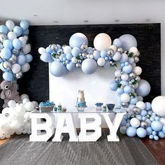325PCS  Balloon Garland Arch Kit Blue Metallic Silver white  balloon for boy baby shower decor birthday party Supply wedding bridal shower The whole kit including:15PCS 5 inch Metallic Silver balloon55PCS 5 inch Maca Blue Balloon52PCS 5 inch White balloon25PCS 10 inch Metallic Silver balloon110PCS 10 inch Maca Blue Balloon55PCS 10 inch Maca white balloon5PCS 12 inch Maca blue balloon2PCS 18 inch Maca Blue ballon2PCS 18 inch Maca white balloonSuitable Occasion : Valentine's Day,Wedding & Enga Baby Shower Decorations For Boys, Boy Baby Shower Themes, Baby Shower Balloons, Baby Shower Gender Reveal, Birthday Decorations, Baby Shower For Boys, Baby Shower Blue, Baby Boy Birthday Decoration, Baby Boy Balloons