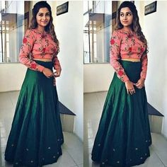 Nice combination of floral crop top & bottle green skirt Choli Designs, Lehenga Designs, Saree Blouse Designs, Indian Designer Outfits, Indian Outfits, Designer Dresses, Indian Attire, Indian Clothes, Indian Wear