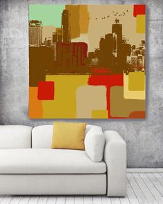 Skyline Panorama, Large Architectural Cityscape Canvas Art Print. Colorful Brown URBAN Canvas Art Print up to 48 by Irena Orlov  Wall Art Decor for Home, Office or Hotel  URBAN ART  With a harder approach and industrial elements, my urban art is ideal for the loft owner or edgy boutique Urban Rustic Painting Print on Canvas – 8 Sizes Available  So striking, this is my Urban Painting – a canvas print of my original artwork. I also give you the option to have the print hand embellished, which…
