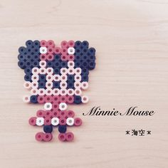 Minnie Mouse perler beads by Mini Hama Beads, Diy Perler Beads, Perler Bead Art, Fuse Beads, Pearler Bead Patterns, Perler Patterns, Perler Bead Disney, 8bit Art, Hama Beads Design