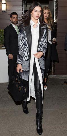 Kendall Jenner in a rocker-inspired street style look.
