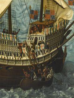 Embarquement du roi Henri VIII d'Angleterre à Douvres, pour se rendre à Calais, le 31 mai 1520 Bouterwerk Friedrich (1806-1867). Detail: Embarkation