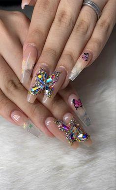 Butterfly Nail, Butterfly Wings, Bling Nails, Bling Bling, Acrylic Toe Nails, Beauty Nail Salon, Cute Halloween Nails, Coffin Shape Nails, Nail Games