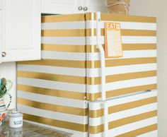 24 Creative Ideas That Will Make Your Room Cool and Chic Refresh your fridge with washi tape or contact paper/