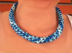 Shades of turquoise pipe macrame choker 3D necklace cotton necklace woven necklace blue beads (15.00 USD) by LittleFlowerbyGloria