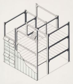 Image 4 of 13 from gallery of Spotlight: James Stirling. Stiff Dom-ino Housing, theoretical project cut-away axonometric view with hinged windows. Image Courtesy of Canadian Centre for Architecture Architecture Graphics, Architecture Drawings, Architecture Details, Architecture Diagrams, Architecture Portfolio, Axonometric View, Axonometric Drawing, James Stirling, James Frazer