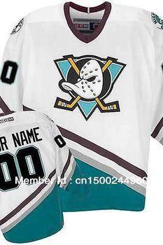 Custom Mighty Ducks Of Anaheim Hockey Jerseys 1996-06 White Green -  Customized Any 5a3fec7e7