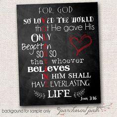 John 3:16 Chalkboard Wall Art Print - Valentine Art, Wall Decor, Valentine Printable - Christian Art - Scripture Art on Etsy, $5.00