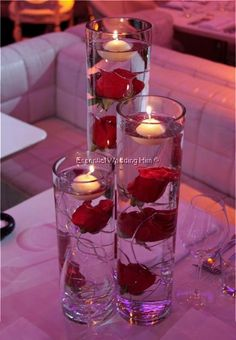 Tall cylinder vases with red roses   ... Hire - Crystal Trees, Vase Hire, Chuppah, Candelabra - Cylinder Vases