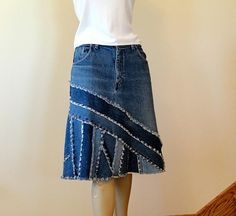 Blue Jeans Skirt - Ella Pieced Denim Skirt - Made to Order Upcycled Jean Skirt - Choice of lengths : Short Denim Skirt Made to Order Ella Short by Sewing Clothes, Diy Clothes, Recycle Old Clothes, Summer Clothes, Jeans Recycling, Jeans Azul, Denim Ideas, Denim Crafts, Refashioning