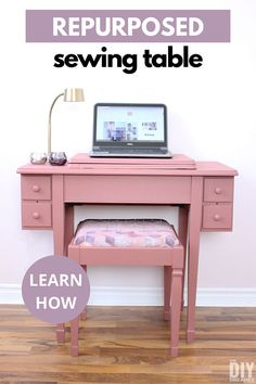 Repurposed sewing table upcycled into a desk. Learn how to repurpose an old sewing cabinet into a useful computer desk. Old Sewing Cabinet, Sewing Desk, Sewing Table, Diy Furniture Projects, Furniture Makeover, Diy Projects, Furniture Refinishing, Sewing Projects, Meme Design