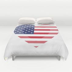 Items similar to Heart USA Duvet Cover Personalized Color - Full, Queen, King - Gift for her Him Bedding Bed Decor Modern Apartment, White Duvet, Flag Duvet on Etsy White Duvet, Modern Decor, Duvet Covers, Gifts For Her, Studio, Bed, Etsy, Color, White Down Comforter