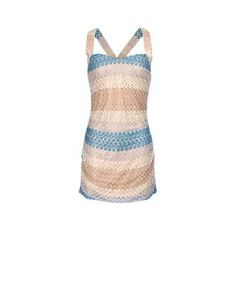 Striped short-length bathing suit cover-up in woven knit and lycra/Lurex transparent details. Racerback braces. Slim fit.