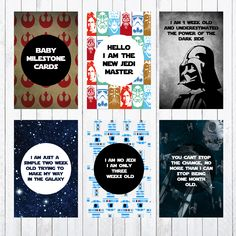 Baby Milestone Cards, 4x6 Cards, Photo Props, Star Wars