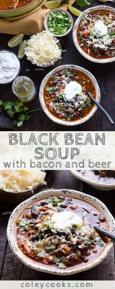 This Black Bean Soup with bacon   beer is so easy, super flavorful and perfect for watching football! Best recipe for Super Bowl Sunday! #easy #soup #recipe #bacon #beer #football #superbowl #beans #texmex Best Soup Recipes, Beer Recipes, Chili Recipes, Great Recipes, Favorite Recipes, Healthy Recipes, Unique Recipes, Delicious Recipes, Healthy Soup