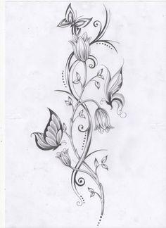 Flower vine and butterfly tattoos tats tatoeage ideeën, kanten tatoeage, ee Trendy Tattoos, Cute Tattoos, Leg Tattoos, Beautiful Tattoos, Body Art Tattoos, Sleeve Tattoos, Tattoos For Women, Tatoos, Tattoos On Side Ribs