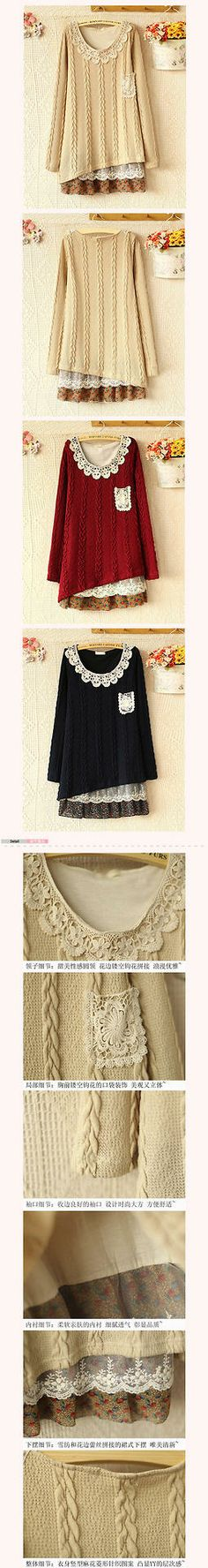 A Swedish Mori Girl - add lace and material under a long sweater. Mori Girl Fashion, Diy Fashion, Diy Clothing, Sewing Clothes, Alter Pullover, Altered Couture, Altering Clothes, Long Sweaters, Big Sweater