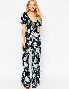 ASOS Jumpsuit With Scallop Neck In Floral Print