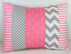 Nursery Pillow Cover, Throw Pillow Cover, Anchor Nursery Decor,  Coral Pink and Gray Chevron, Anchors Nursery Decor Nautical, 12 x 16 Inches