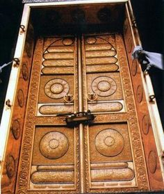 Saudia Arabia ~  The door of the Ka'abah in the Holy Mosque in Makkah. A door is fixed about 7 feet above ground level facing Northeast.