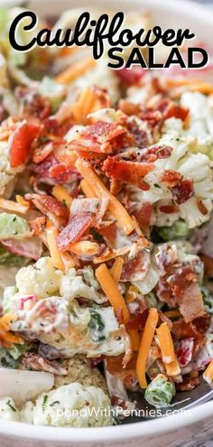 Need a healthy vegetable salad for your next potluck Try this easy Cauliflower Salad made with celery radishes bacon and cheese spendwithpennies cauliflowersalad broccolicauliflowersalad keto potatosalad Broccoli Cauliflower Salad, Loaded Cauliflower, Easy Cauliflower Recipes, Cooking Recipes, Healthy Recipes, Healthy Potluck, Potluck Salad, Healthy Dishes, Healthy Meals