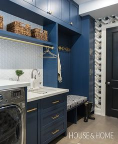 """f26e65ada75 House   Home on Instagram  """"NEW VIDEO  See how designer  cadieuxdesign  turned a basic laundry room and mudroom into a practical yet stylish space."""