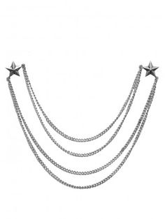 Silver tone collar tip necklace featuring nautical star pins