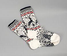 socks white men wool black reindeer folklore eco friendly white sock foot unisex Ready to ship! I designed these white-black-red wool one Fair Isle Knitting, Knitting Socks, Baby Knitting, Knit Socks, Cabin Socks, Cross Stitch Christmas Stockings, Designer Socks, Cool Socks, White Man