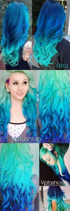 turquoise blue green ombre hair color ideas with clip in human hair extensions 2015